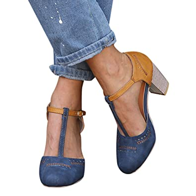 0e3e46339e Sandals for Women , Summer T-Shaped Wood-Tone Buckle Block Suede Open Toe
