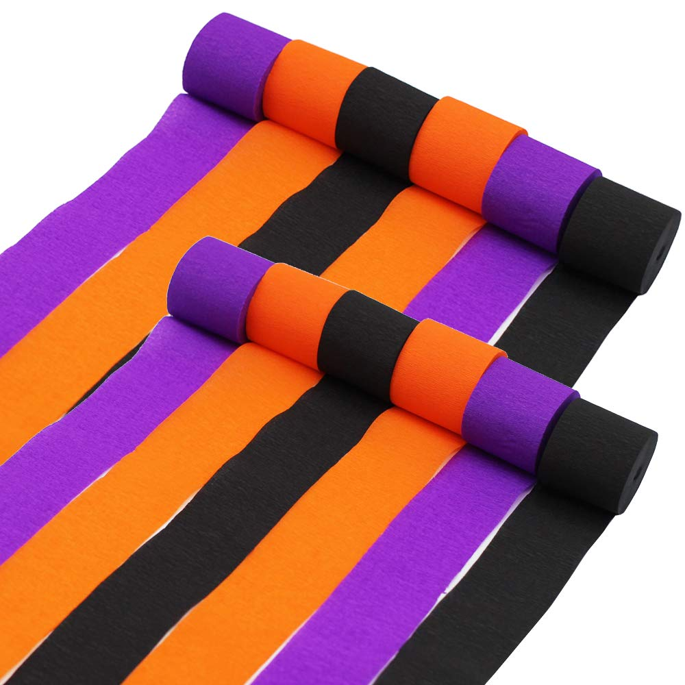 Halloween Orange Black Purple Crepe Streamers Paper for Halloween Party Room Wall Decor DIY Spooky Craft (18) tyoungg
