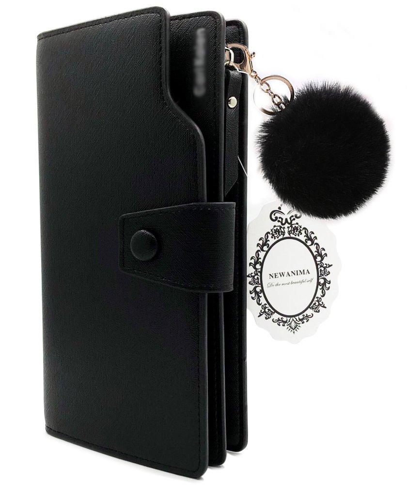 Wallet-NEWANIMA Women Multi-card Two Fold Long Zipper Clutch Purse (Style3-Black)