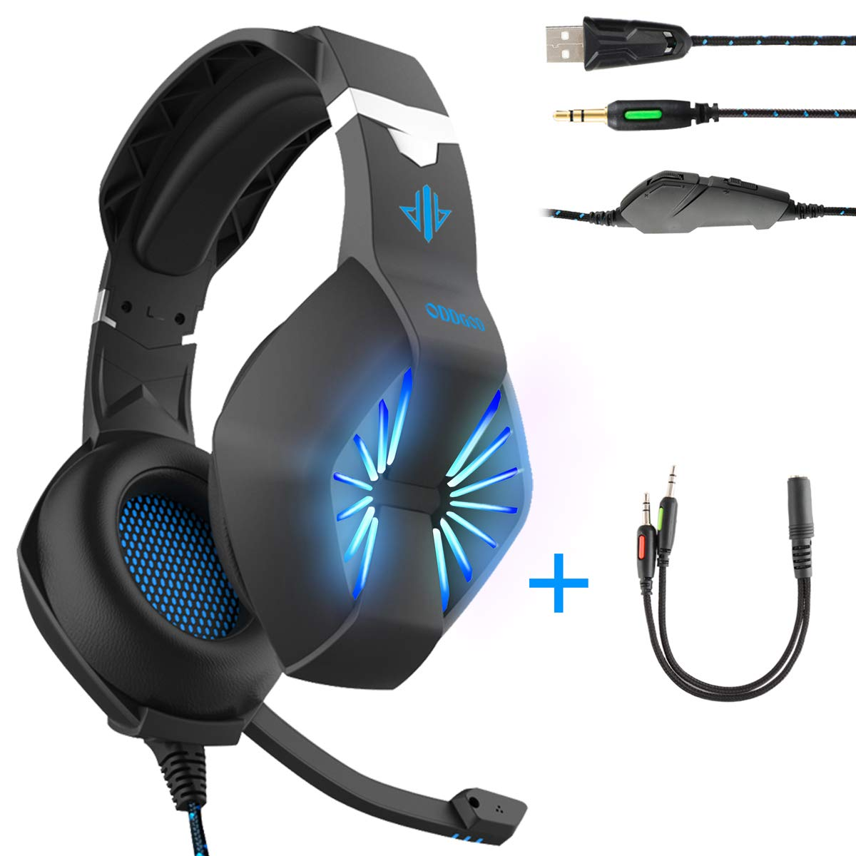 Gaming Headset-3.5MM Jack & USB Wired Over Ear Headphone with Mic and Stunning LED Light for PC,PS4,Xbox,Tablet,Smartphones-Noise-isolating/Stereo Sound/Soft Memory Earmuffs(Black) 141[並行輸入] B07D7N454Y