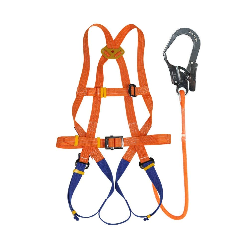 FELICIAAA 空中作業安全ハーネス屋外建設安全ロープボディ5点保険ハーネス産業用電気技師ベルト (サイズ : Double rope - large buckle -5m) Double rope - large buckle -5m  B07SR1N7HT