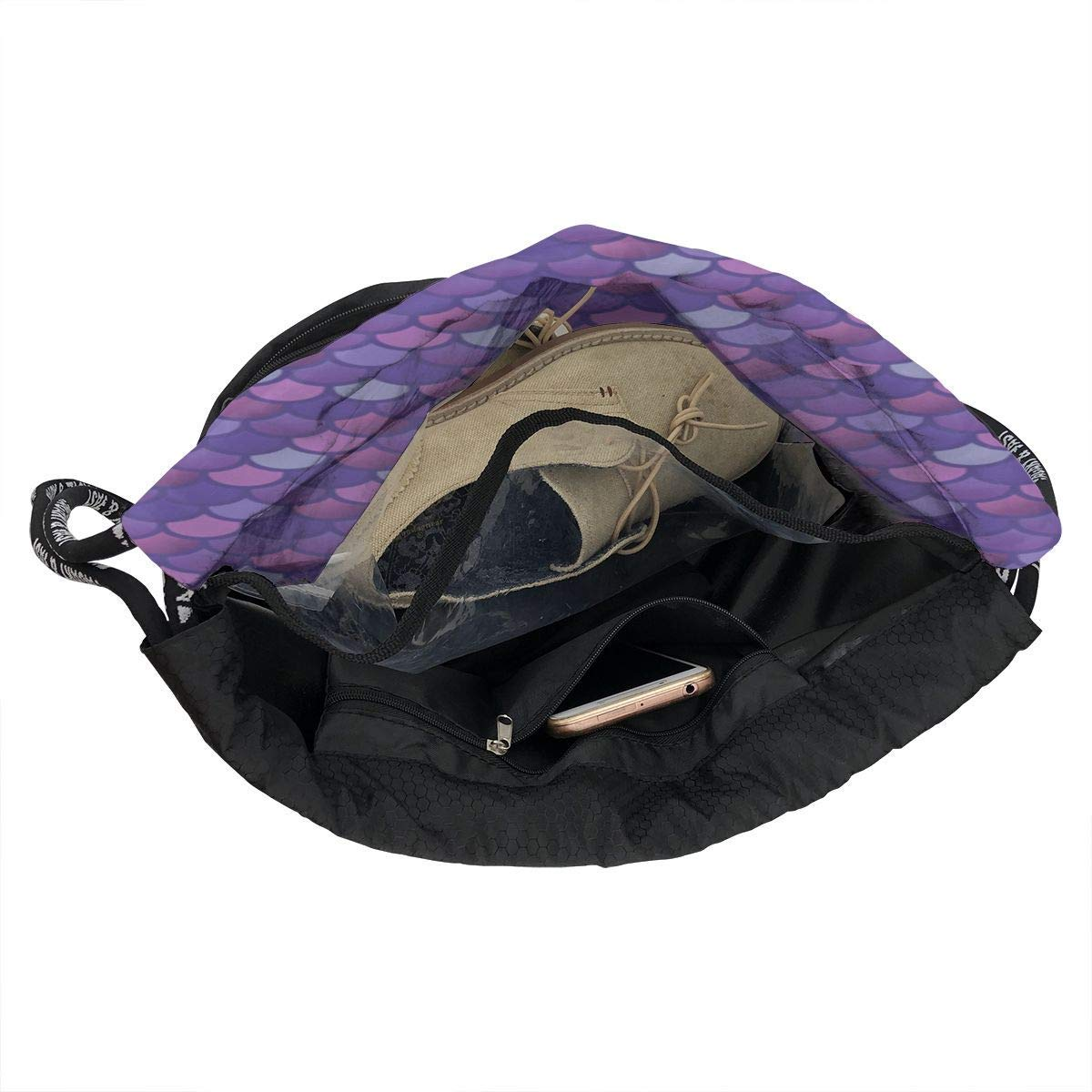 3ec0d14e9e48 Mermaid Fish Scale Purple Pink Drawstring Backpack Bags Sport Gym Treat Bag  6MGC2VMAWYV1B0XUC76T Set per la ...