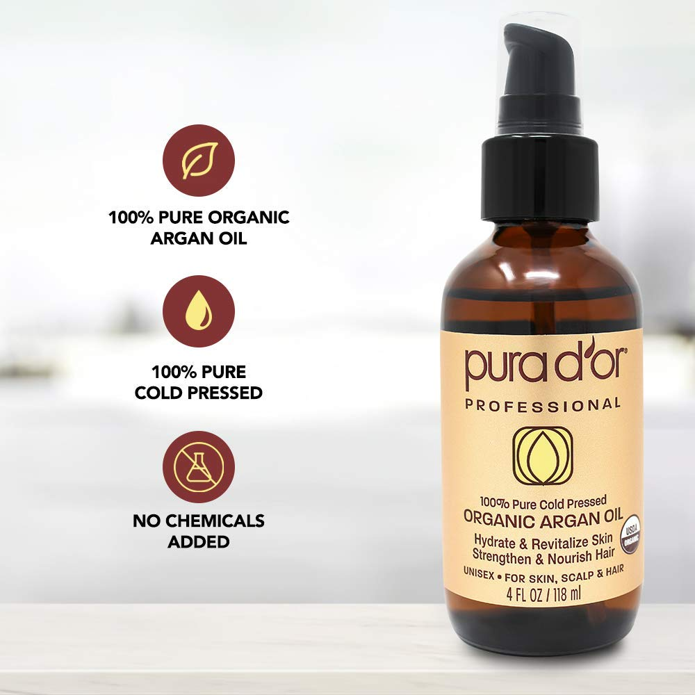 PURA D'OR (4 oz) Organic Moroccan Argan Oil 100% Pure Cold Pressed, USDA Certified Organic, All Natural Anti-Aging Moisturizer Treatment for Face, Hair, Skin & Nails, Men & Women (Packaging may vary) by PURA D'OR (Image #7)