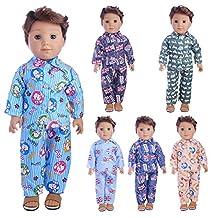 ZHUOTOP Colorful Doll Clothes Sleepwear Set for 18 inch Male Boys Doll Random
