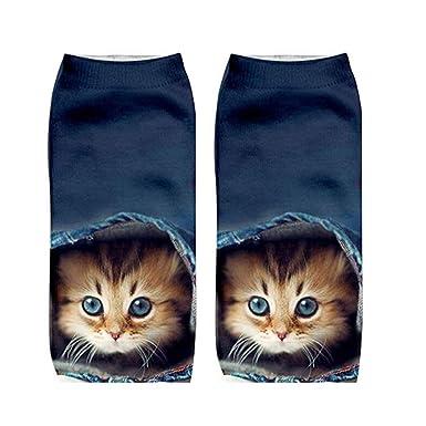 Gysad 1 par Calcetines de mujer Patrón de gato Calcetines mujer divertidos cortos Suave y confortable
