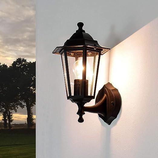 Lámpara de pared para exteriores de París en colour negro de peluche de jardín de luz lámpara de pared para patio y jardín: Amazon.es: Iluminación