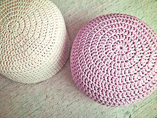 Light Pink Nursery Foot stool Pouf Ottoman-Baby Pink Nursery Decor-Furniture Crochet Floor Cushions -Kids Knit Bean Bag-Baby Shower Gifts by Looping Home