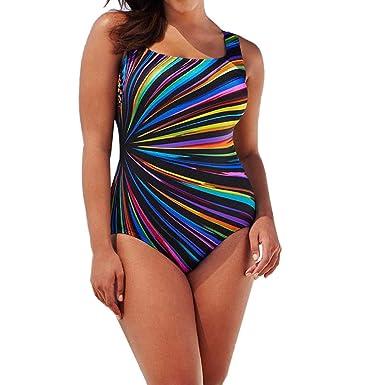 456a8023b019b Yukong Bikini Sexy Women Plus Size Striped 1 Piece Beach Bra Swimwear Set  Swimsuit (XXXL