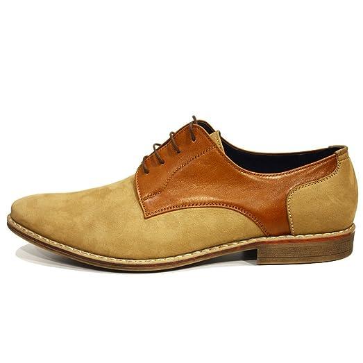 Modello Pepito - 40 EU - Cuero Italiano Hecho A Mano Hombre Piel Marrón Zapatos Vestir Oxfords - Cuero Ante - Encaje qWbHpfNvVl