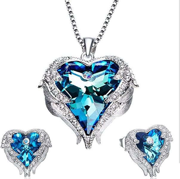 d98d3e083b26ae YOU+Women s Jewelry Set 18K White Gold Plated Angel Wings Swarovski Crystal  Pendant Necklace Ocean Stud Earrings for Love