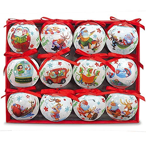 12 Pack Glossy Art Decorated Ornaments Hawaiian Style 12 Days Of Christmas
