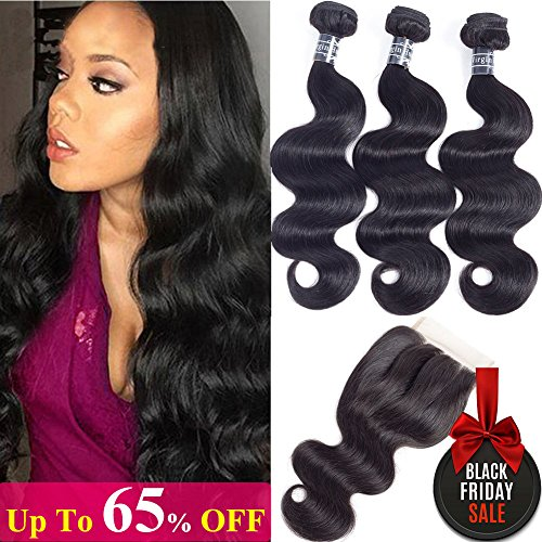 10A Brazilian Body Wave Virgin Human Hair 3 Bundles with Lace Closure (18'' 20'' 22''+16''Closure,Three Part, Natural Black) 100% Unprocessed Brazilian Body Wave Human Hair Weave With 4x4 Lace Closure by Amella hair