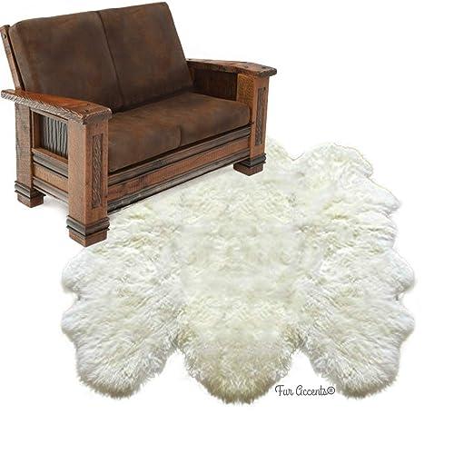 Soft Faux Fur Sheepskin Area Throw Rug Fur Accents Shag Pelt Rug Off White 7 '