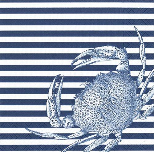 Caspari Napkins Beach Party Clambake Paper Napkins Luncheon/Dessert Napkins Blue Stripe Crab Pk 40 ()