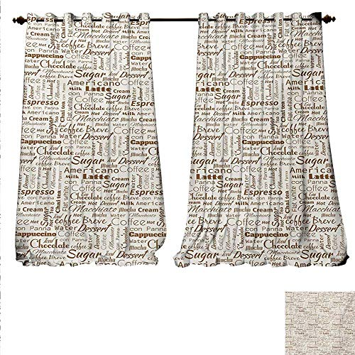 familytaste Customized Curtains Coffee Themed Quotes Macchiato Mocha Americano Breve Dessert Artistic Graphic Thermal Insulating Blackout Curtain W84 x L84 Cream and Umber.jpg