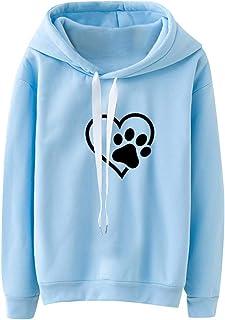 Thenxin Women's Casual Long Sleeve Hooded Sweatshirt Cute Dog Foot Print Comfort Drawstring Pullover