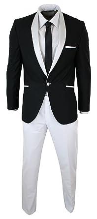 CB Smoking Homme Blanc Noir col châle Costume habillé couep ajustée soirée  Mariage fêtes 4cbb14fe154