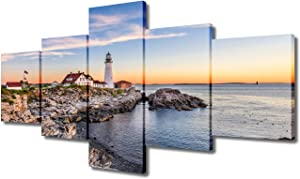 5 Piece Canvas Wall Art America Northeast Cityscape Paintings Home Decor Portland Maine Skyline Prints on Canvas Modern Artwork Picture for Living Room Framed Stretched Ready to Hang(50