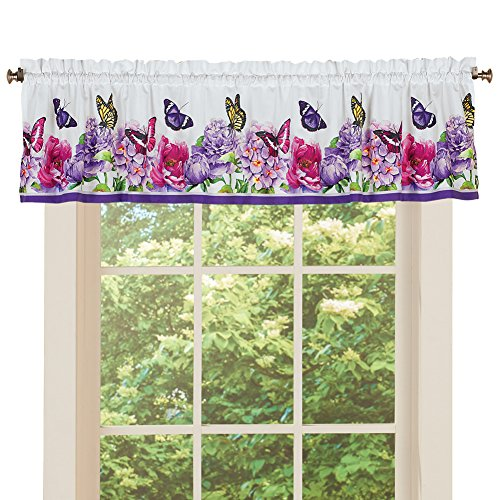 Garden Valance (Collections Butterfly Watercolor Floral Valance Curtain Home Decor with Rod Pocket Top - for Bathroom, Laundry, Bedroom, Valance)