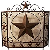 Fireplace Screen Tri Fold with Star - Metal - Heavy - Home Décor - Fire -
