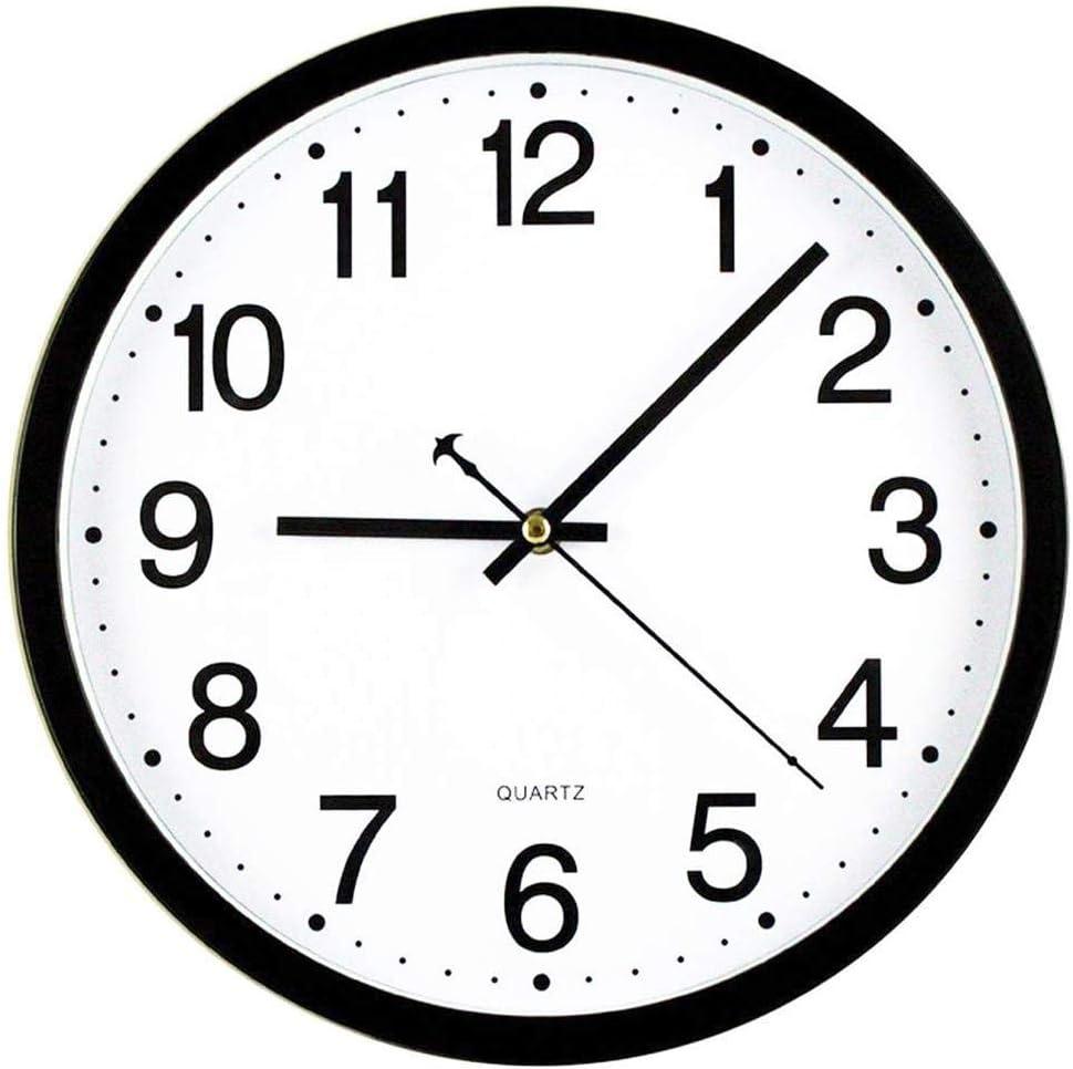 Tebery - Reloj de Pared Redondo de 30 cm, silencioso, silencioso, para Oficina, Sala de Estar, Cocina, Dormitorio, Gimnasio, Estilo Moderno, Elegante, Marco Negro, Esfera Blanca