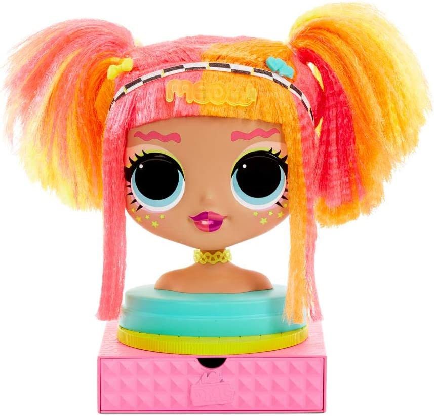 Amazon Com L O L Surprise O M G Styling Head Neonlicious With Stick On Hair For Endless Styles Toys Games