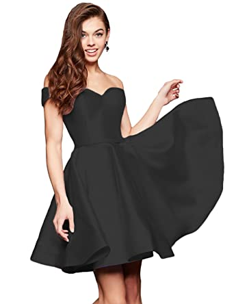 ce8de55b032 Women s Satin Short Homecoming Dress for Juniors Off Shoulder Cocktail  Dresses with Pockets Black 2