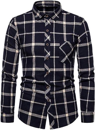 Allywit Mens Long Sleeve Plaid Slim Fit Button Down Dress Shirt