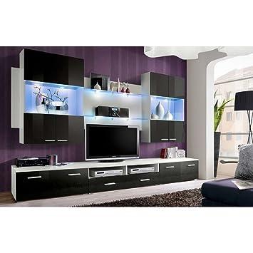 54691cc9846 JUSTyou Spece Muebles de salón Comedor Modulo de Pared Tamaño  190x300x45  cm Blanco Mat Negro Brillante  Amazon.es  Hogar