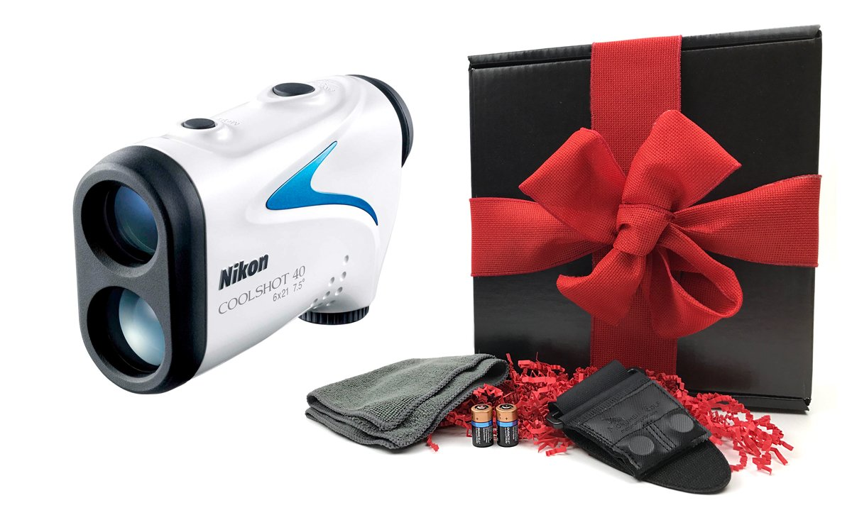 Nikon COOLSHOT 40 Gift Box Bundle | Golf Laser Rangefinder, Magnetic Cart Mount, PlayBetter Microfiber Towel, Protective Case & Two (2) CR2 Batteries