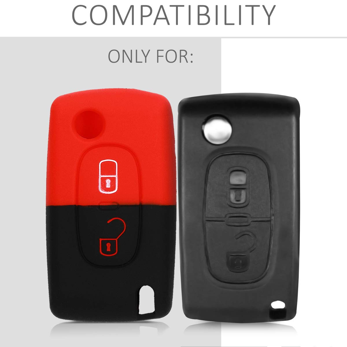 Black Silicone Protective Key Fob Cover for Peugeot Citroen 2 Button Car Flip Key kwmobile Car Key Cover for Peugeot Citroen