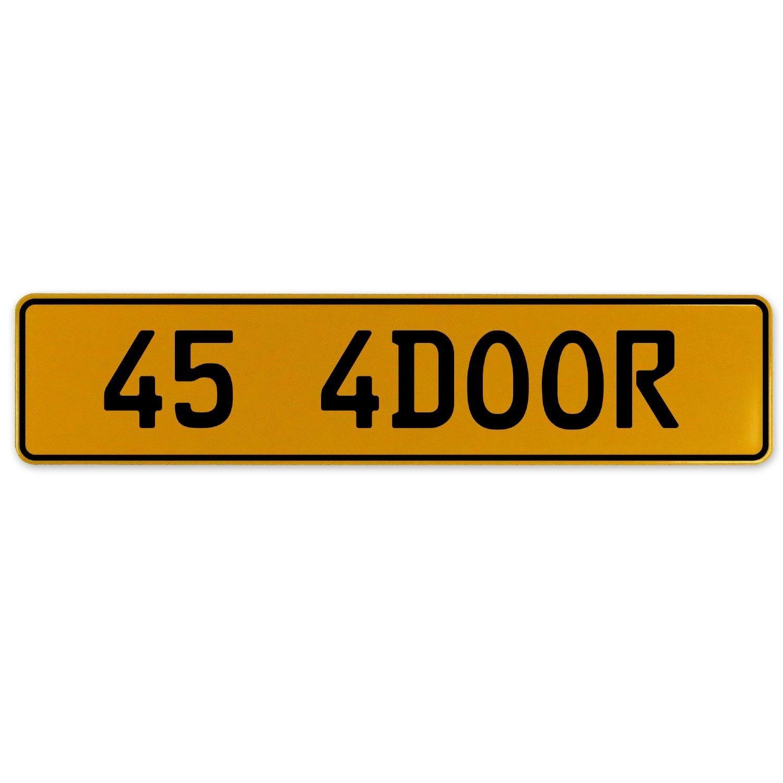 Vintage Parts 563157 45 4DOOR Yellow Stamped Aluminum European Plate