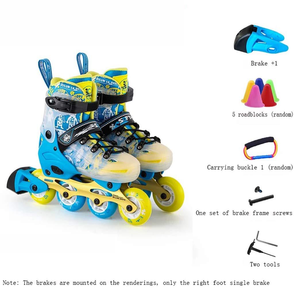 XZ15 ローラースケート、スケート、ローラースケートの子供のフルセット、スケート、男性と女性のローラーシューズ、ワン靴デュアルパーパススケート (Color : 青, Size : S (28-31 yards)) 青 S (28-31 yards)