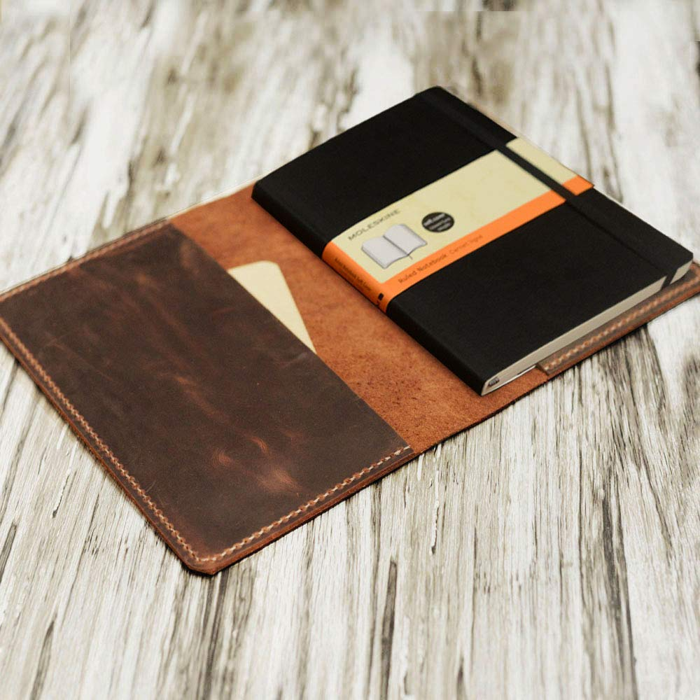 Refillable Leather Journal cover for moleskine classic notebook Large size/Cahier / Volant Journal (5 x 8.25) 305M