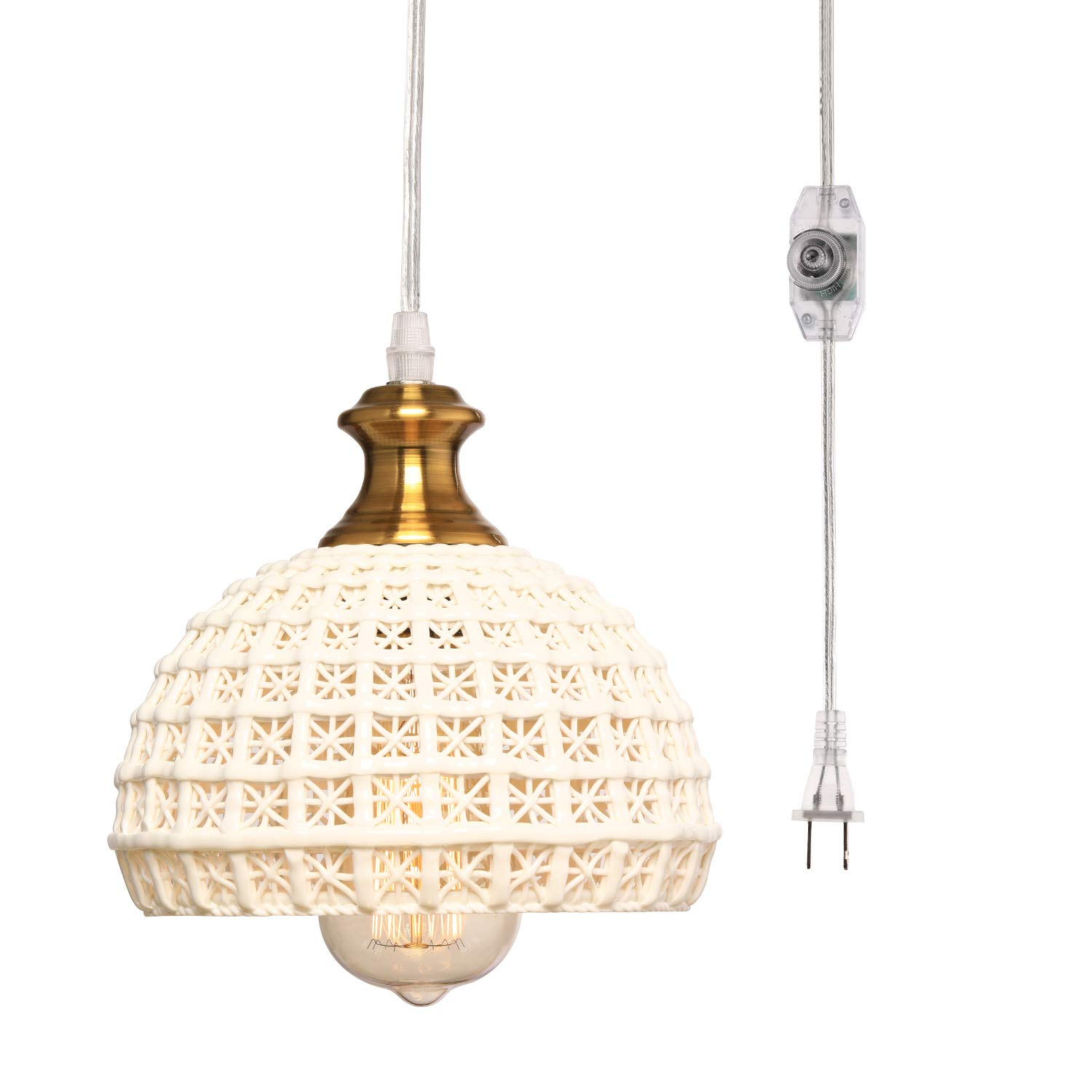 HMVPL Ceramic Plug in Pendant Light Fixture, Unique Swag Ceiling Lamp with 16.4 Ft Hanging Cord and On/Off Dimmable Switch for Kitchen Island Table Dining Room Bedroom Entryway