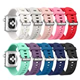 Amazon Price History for:Apple Watch Series 3 Band 42mm, [10 Pack] Alritz Soft Silicone Strap Replacement Wristband with Stainless Steel Buckle for Apple Watch Series 1/2/3/Nike+/Edition/Hermes
