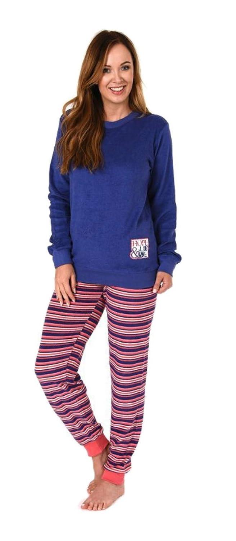 281 201 03 004 Damen Frottee Pyjama Schlafanzug langarm mit Bündchen