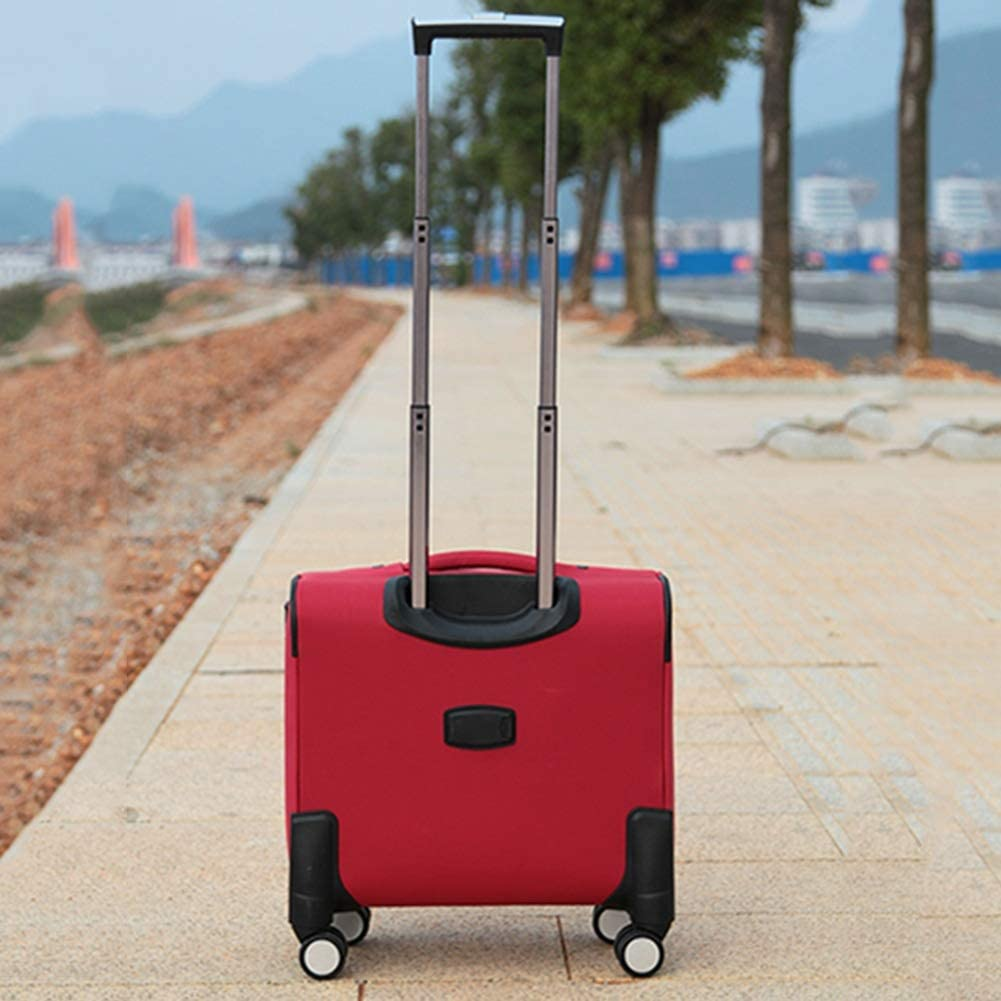 Travel Trolley Case Suitcase Spinner Hand Luggage Check-in Hold Luggage Expandable Strong Lightweight Small Business Universal Wheel Oxford Cloth GAOFENG Color : Red, Size : 16 inches