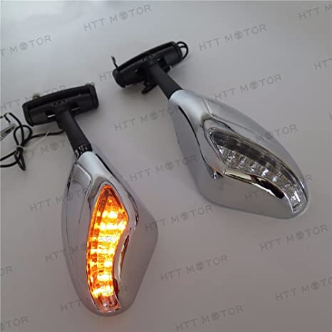 HTTMT MT391- Chrome Led Lights Mirror Compatible with Ninja 500 636 Zx6Rr Zx750 Zx7R Zx9R Z750S 250R
