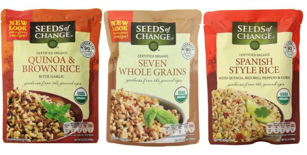 Seeds of Change Organic Heat & Eat Rice Side Dish 3 Flavor Variety Bundle: (1) Quinoa, Brown Rice w/Garlic, (1) Seven Whole Grains, and (1) Spanish Style Rice w/Quinoa, 8.5 Oz Ea (3 Tot)
