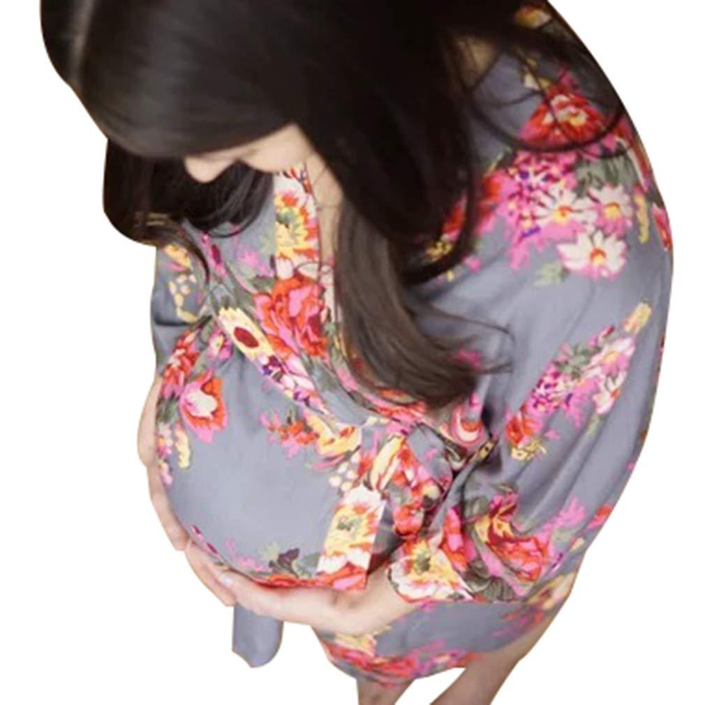 Yying Mujeres Floral Batas Pijamas para Mujeres Embarazadas Batas de Maternidad Enfermería Camisas de Dormir Sexy: Amazon.es: Ropa y accesorios