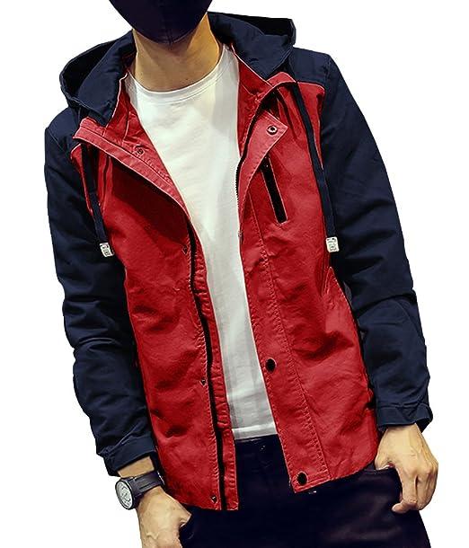 bicmart Mens Casual Heavy Windstopper y impermeable chaqueta abrigo Rojo rosso Medium