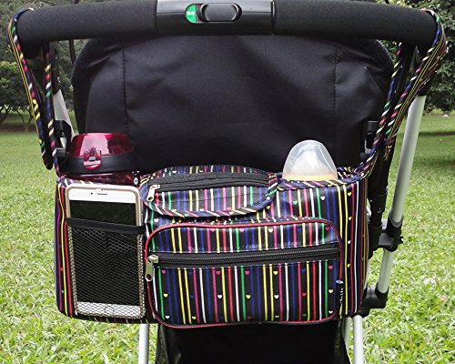 Stroller Organizer Bag, Chilly Pram Organizer Stroller Cup Holders with Removable Shoulder Strap, Fit All Strollers, Extra Large Storage Space for All Personal Belongings (Love)