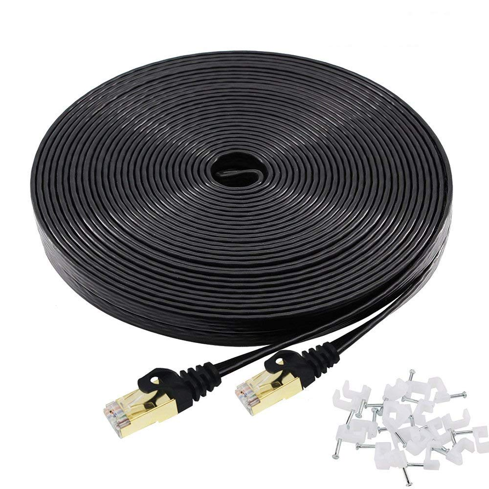 Cat 7 Ethernet Cable 100 ft Black Flat with Cable Clips, Shielded Cat7 Solid Ethernet Patch Cord Fastest Internet RJ45 Higher Speed Than Cat 5e Cat6 Network (100Ft-Blk) by Esorbiel