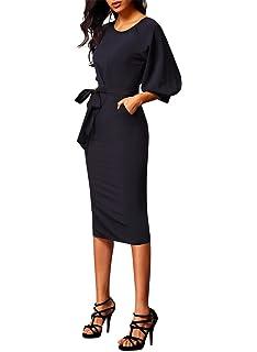 Aleumdr Femme Automne-Hiver Robe Pull Elégant en Chiffon avec Poche Latéral Ceinture  Manche Lanterne 3c2d4242a53