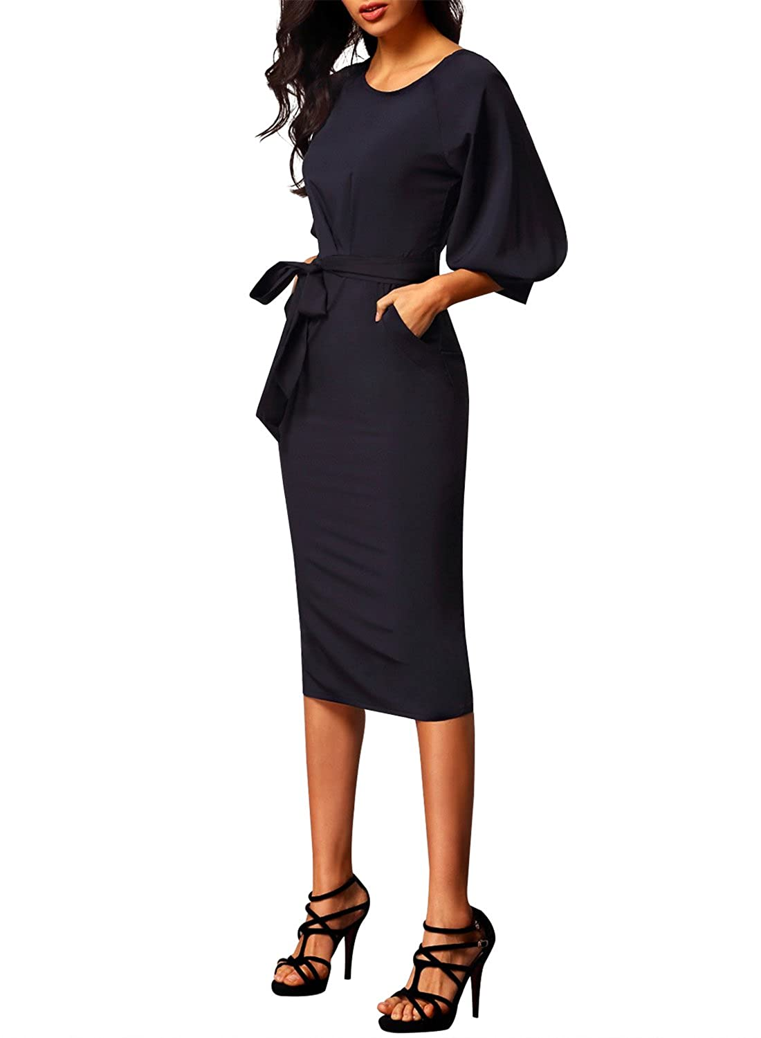 1e87bd42 Bulawoo Women's Round Neck Puff Sleeve Belted Pencil Dress with Pockets  Large Size Black: Amazon.co.uk: Clothing