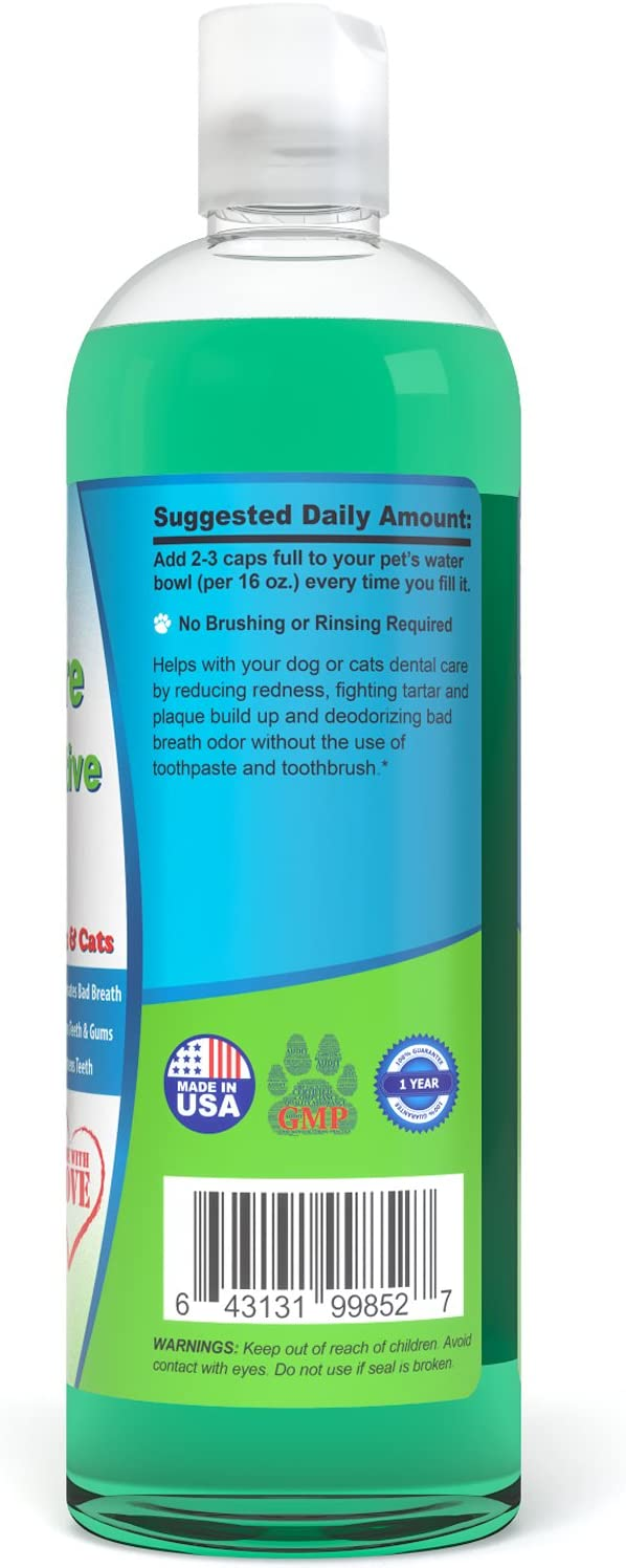Particular Paws Fresh Breath Water Additive for Dogs and Cats - for Clean Teeth, Healthy Gums and Oral Care - 16oz