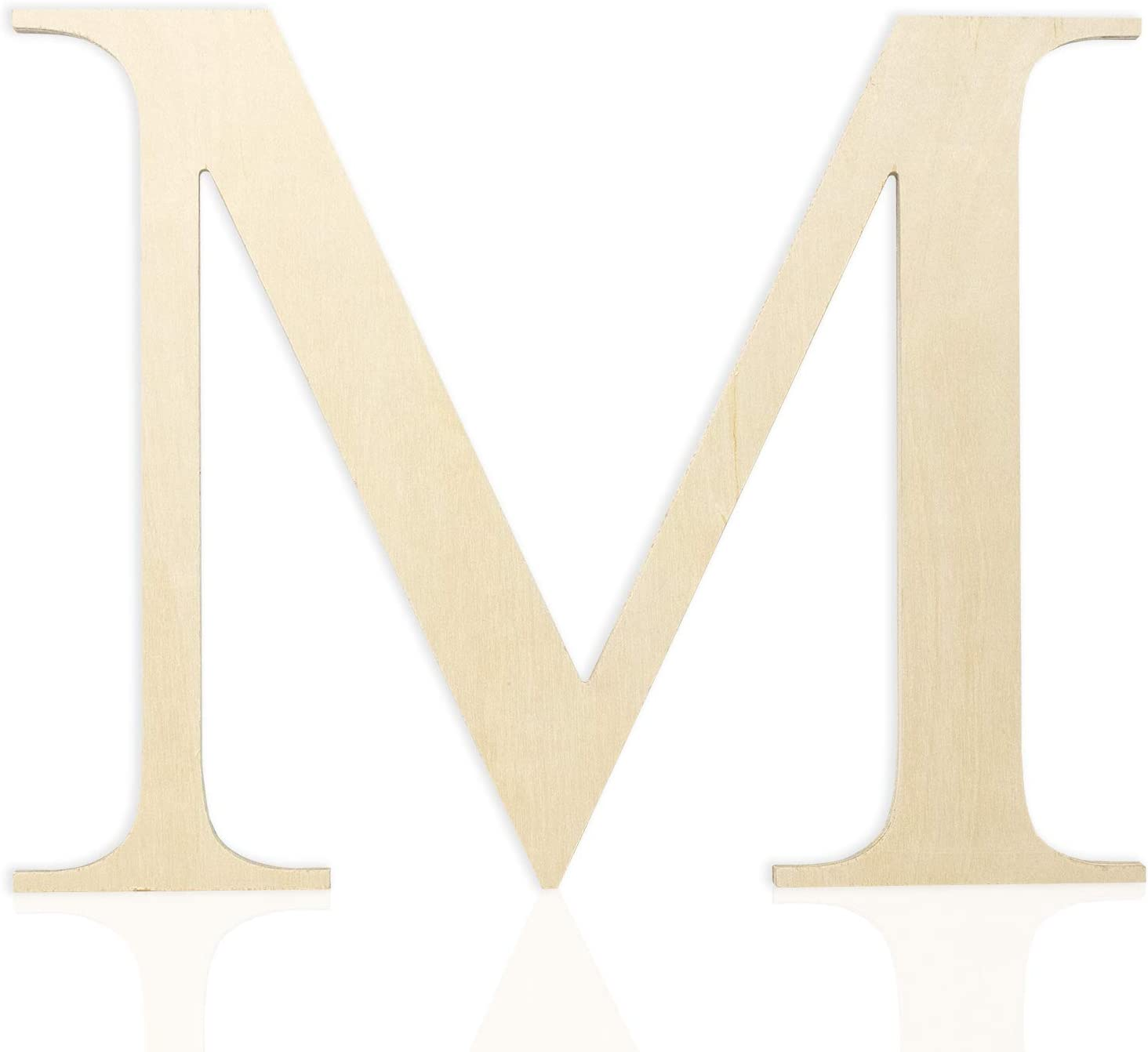 Wooden Letters 12 Inch (Letter M) Unfinished Wood Letters for Wall Décor, Crafts and Weddings. Wall Letter Signs for Home Decoration Painting with Full Alphabet Range Available - 0.5 Inch Thickness