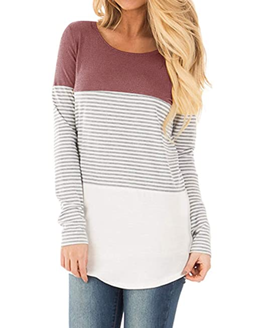 20e5b6d755 YunJey Long Sleeve T Shirts Womens Tops Color Block Striped Causal Blouse  at Amazon Women's Clothing store: