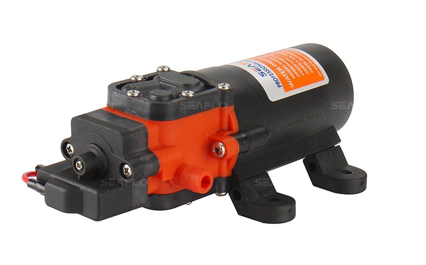 Seaflo 12V DC 1.2 GPM  35 PSI 21-Series Diaphragm Water Pressure Pump for Caravan/RV/Boat/Marine by SEAFLO